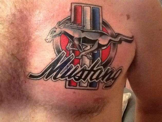 ford mustang metallic car logo tattoo