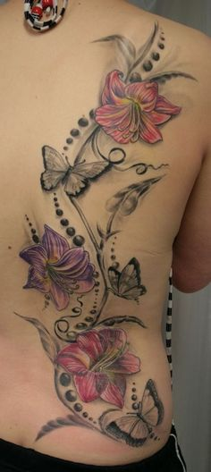 butterflies with jasmine flowers tattoo design on back