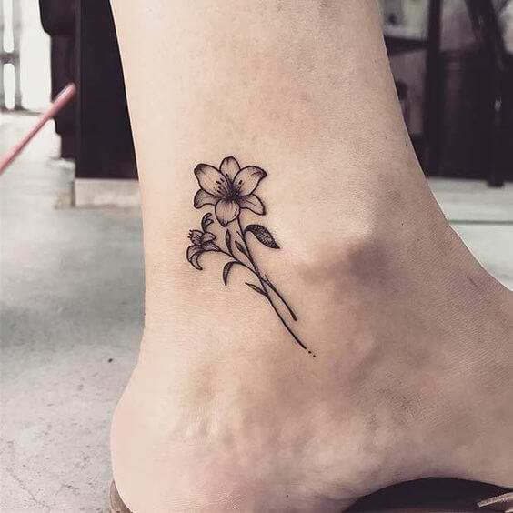 jasmine flower tattoo design on ankle