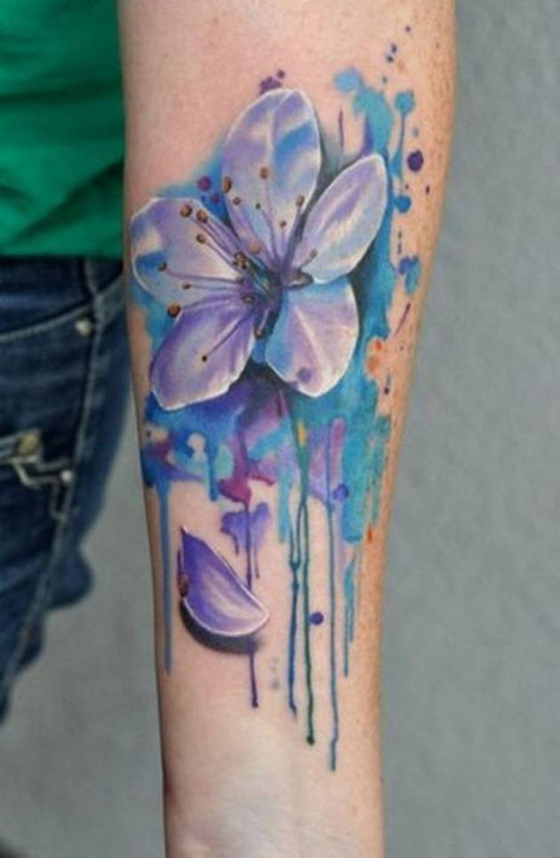watercolor jasmine flower tattoo design on forearm