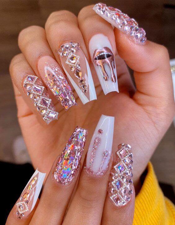 cute rhinestone nail designs 2020