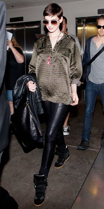 anne hathaway shining outfit with short hair