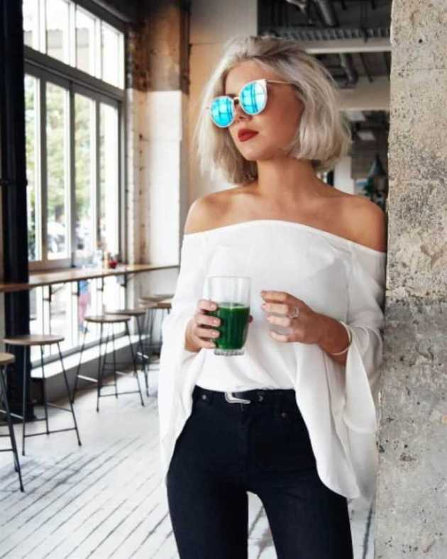 off shoulder outfit with short hair