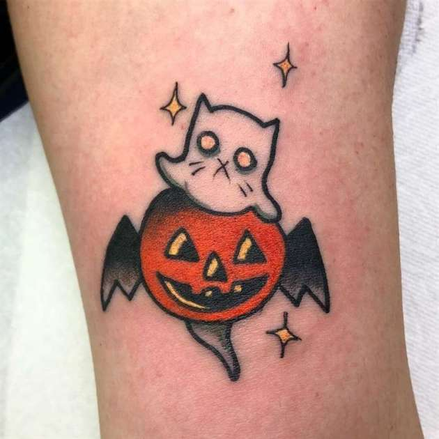 small spooky ghost cat and pumpkin tattoo ideas for halloween