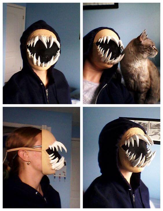diy creepy monster teeth face mask halloween costume idea