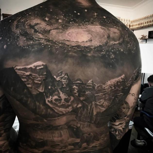 full back astronomy tattoo idea