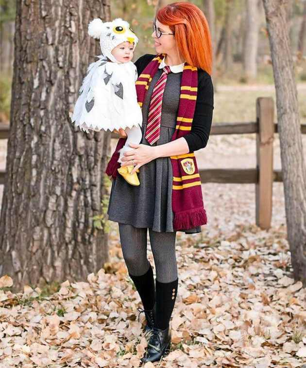 harry potter hedwig owl baby carrying halloween costume idea