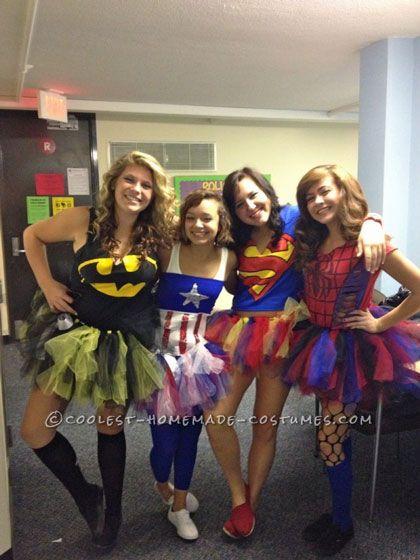 homemade cute female superheros group halloween costume ideas