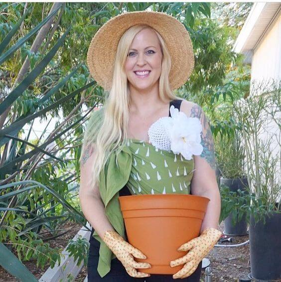 pot of flowers baby carrier halloween costume idea