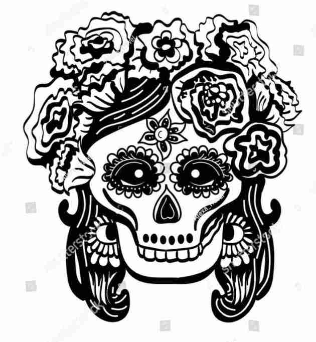 day of the dead skull queen coloring picture