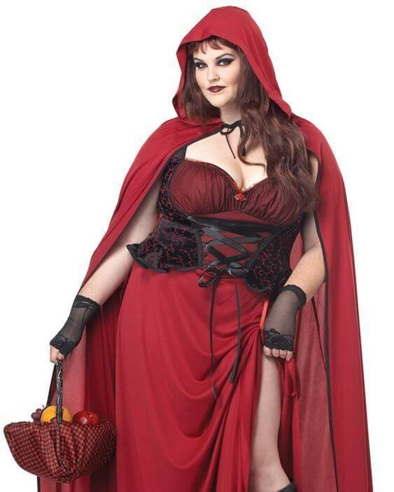 homemade red riding hood plus size halloween costume idea