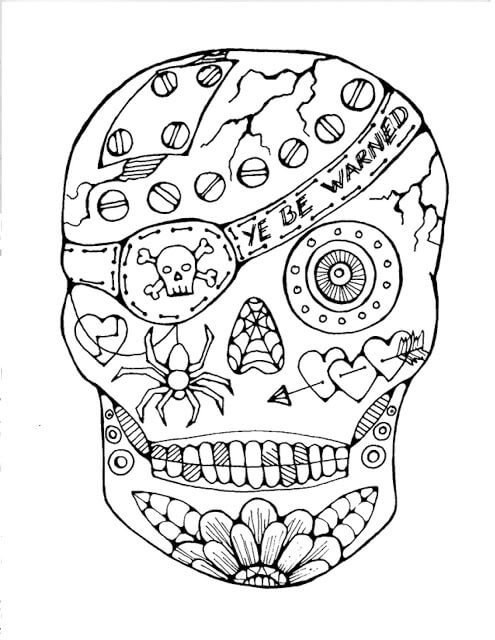 halloween skull coloring picture