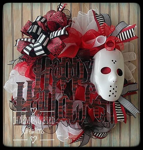 happy halloween jason mask friday the 13th wreath decoration idea