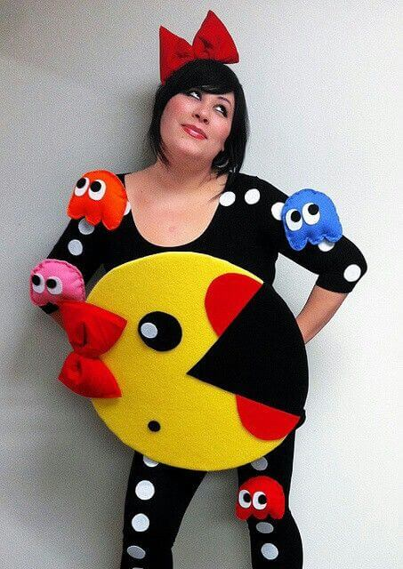 homemade ms pacman plus size halloween costume idea