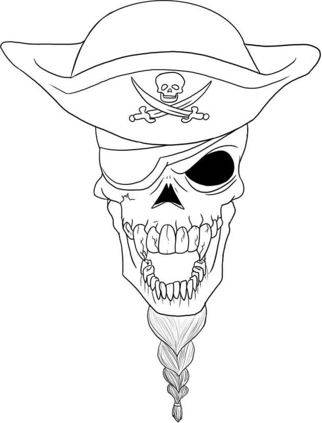 pirate skull coloring picture