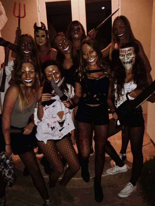 creepy mask group of 9 girls purge halloween costume ideas