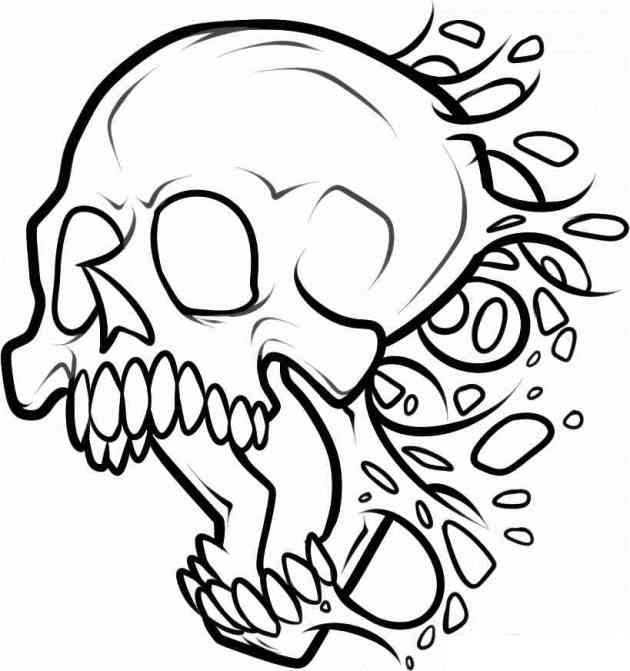screaming skull coloring picture