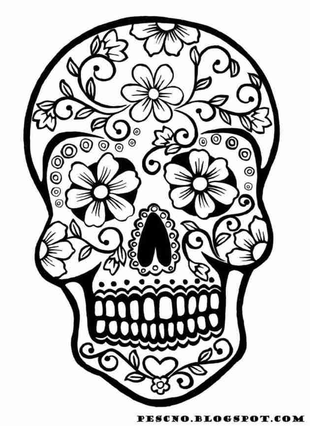 skull with flower patterns coloring picture