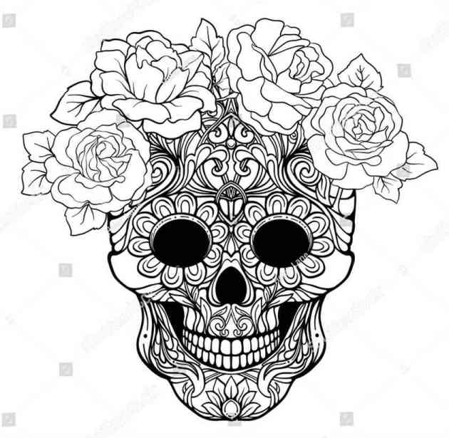 sugar skull coloring picture decorated with flowers