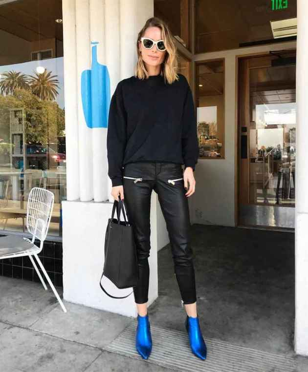 bright blue boots with all-black outfit
