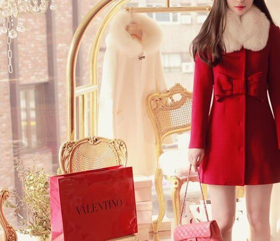 casual female red fur overcoat for christmas