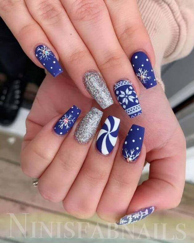 cute glitter gel and blue acrylic coffin christmas nails