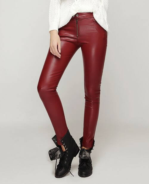 female casual faux leather pant outfit ideas for christmas