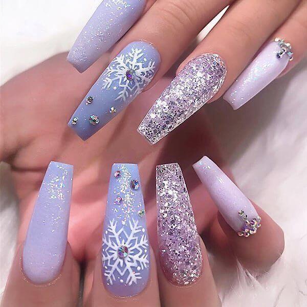 festive gel glitter long acrylic coffin christmas nails