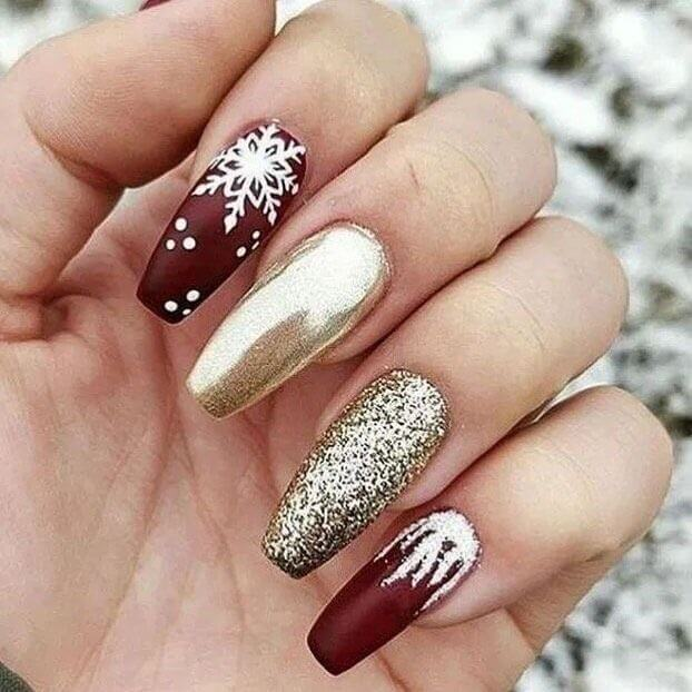 gel glitter with gold and chocolate red acrylic coffin christmas nails