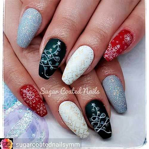 gorgeous festive gel glitter and rhinestones acrylic coffin shape christmas nails