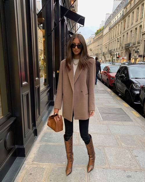Skinny jeans with long coat and leather ankle boots winter outfit