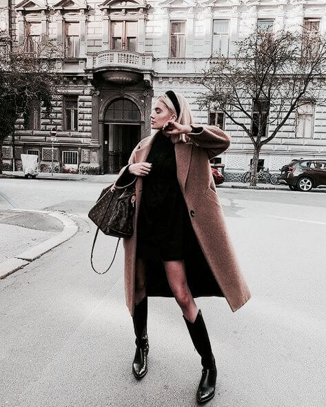 black dress with long coat and black leather ankle boots winter outfit