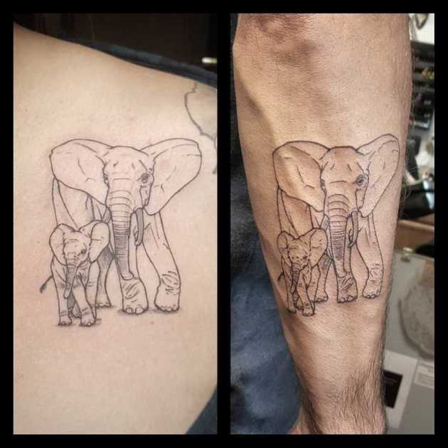 matching elephants father daughter tattoos
