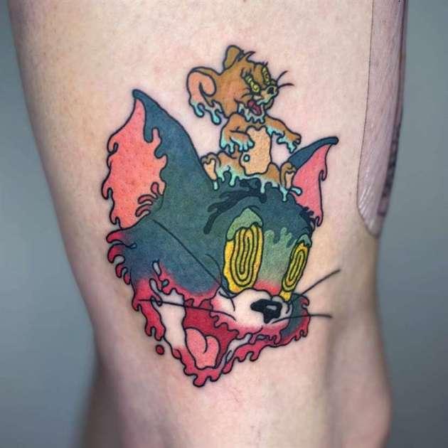 melting tom and jerry cartoon tattoo designs