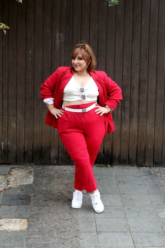 red pant suit outfit perfect for christmas work parties