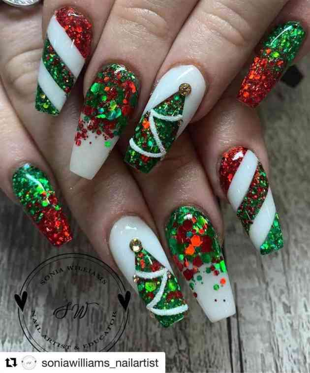 red and green glitter acrylic coffin christmas nails