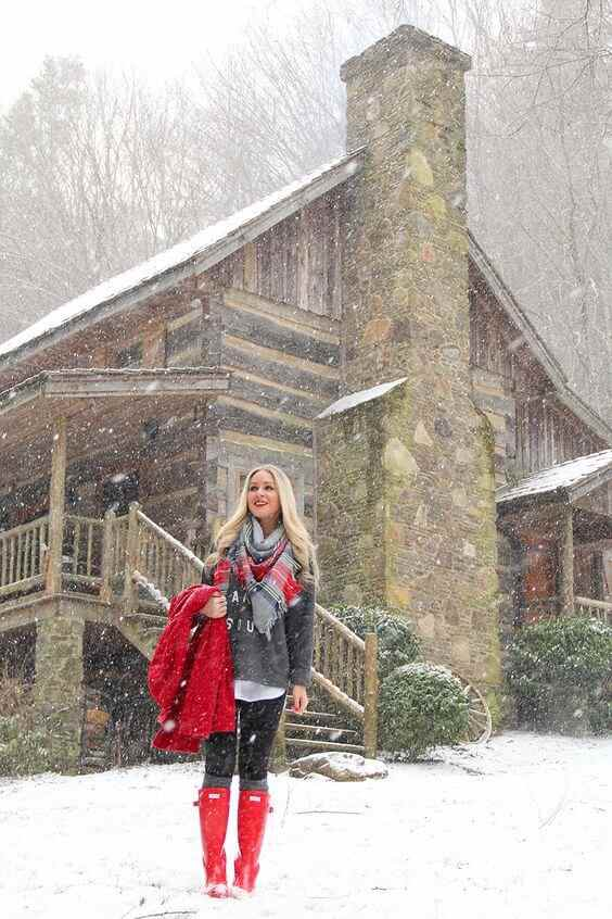 red coat and red snow boots outfit for winter fashion