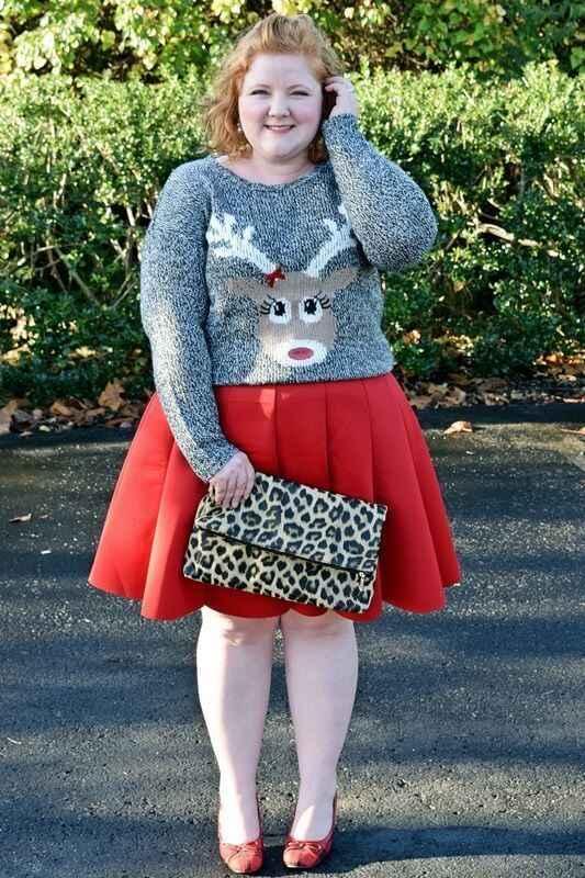 grey reindeer jumper with red skirt for curvy ladies