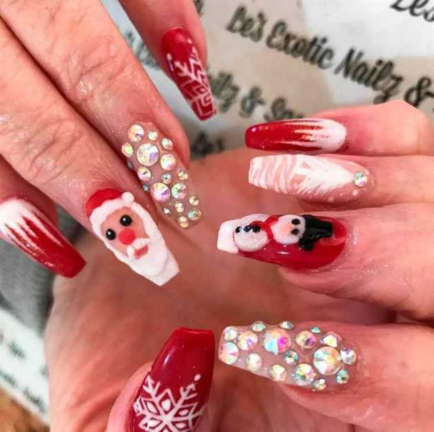 rhinestones nude with red and white acrylic coffin christmas nails