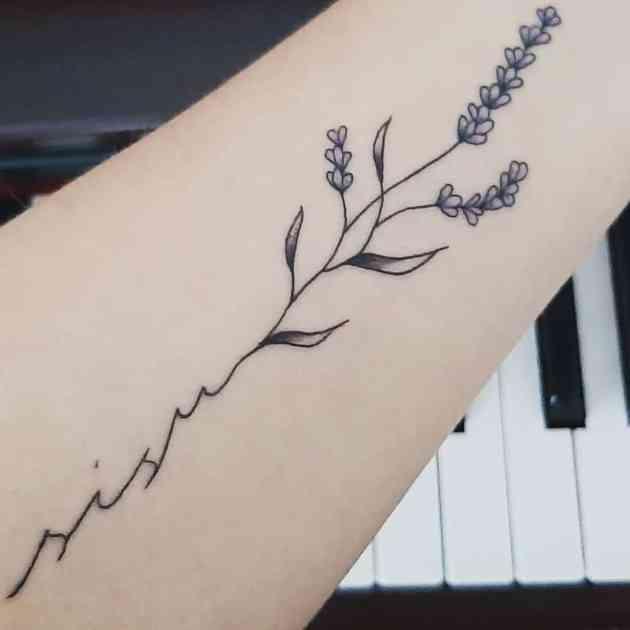 signature lavender sprig tattoo design