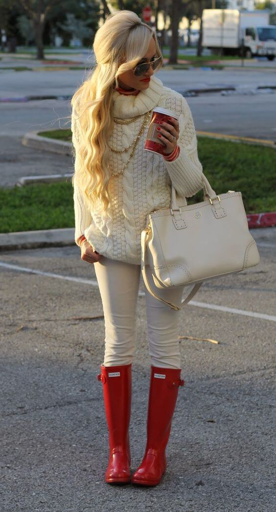 all white outfit with wonderful red boots