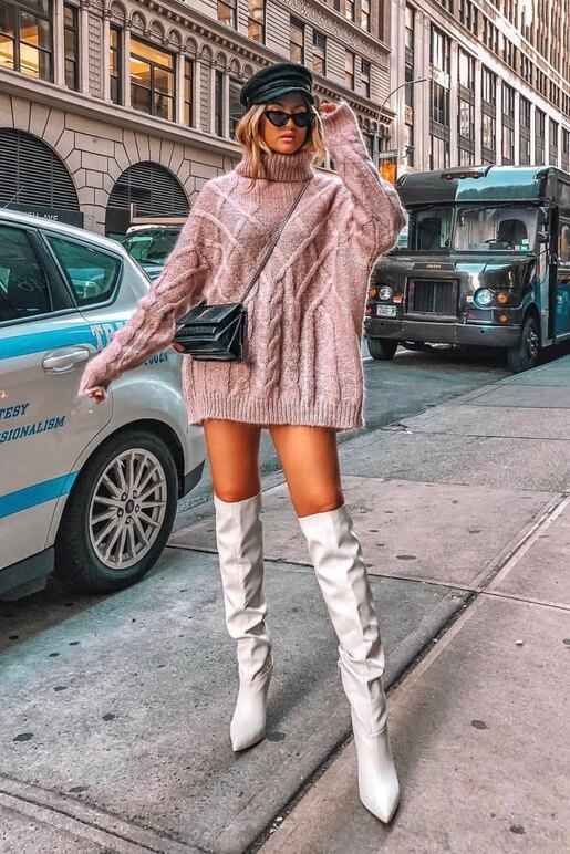 Over-sized sweater with knee length white ankle boots