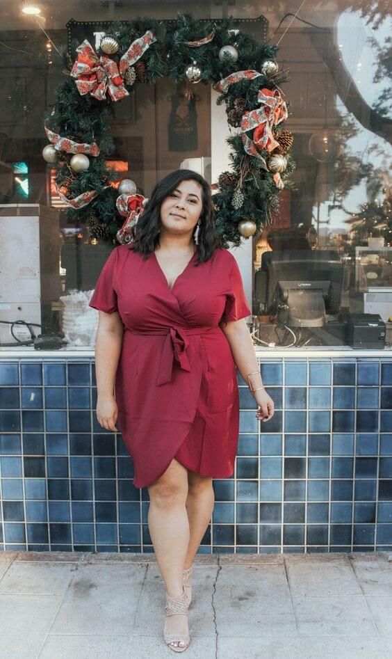 plus size maroon wrap dress for christmas parties