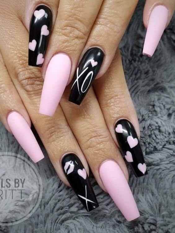 long coffin black and pink heart xoxo nails