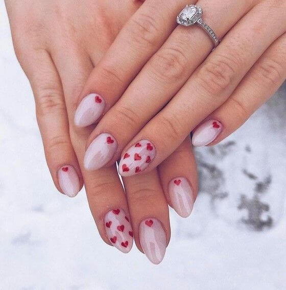 cute short nude coffin red heart nails designs