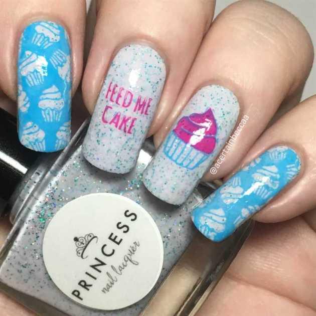 cute cupcake lover birthday nails design ideas