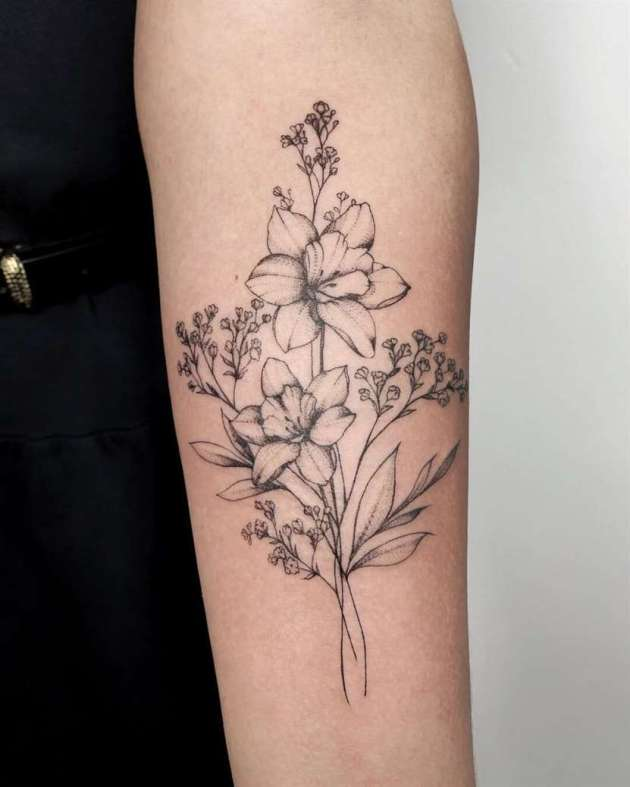 dotwork narcissus december birth flowers bouquet tattoo on forearm