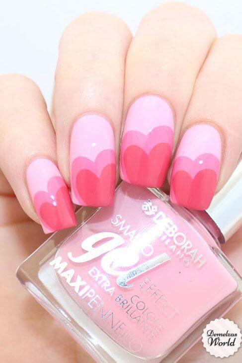 double pink hearts nail art