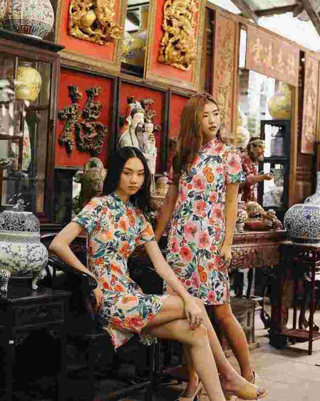 floral print cheongsam girls dress ideas for chinese new year