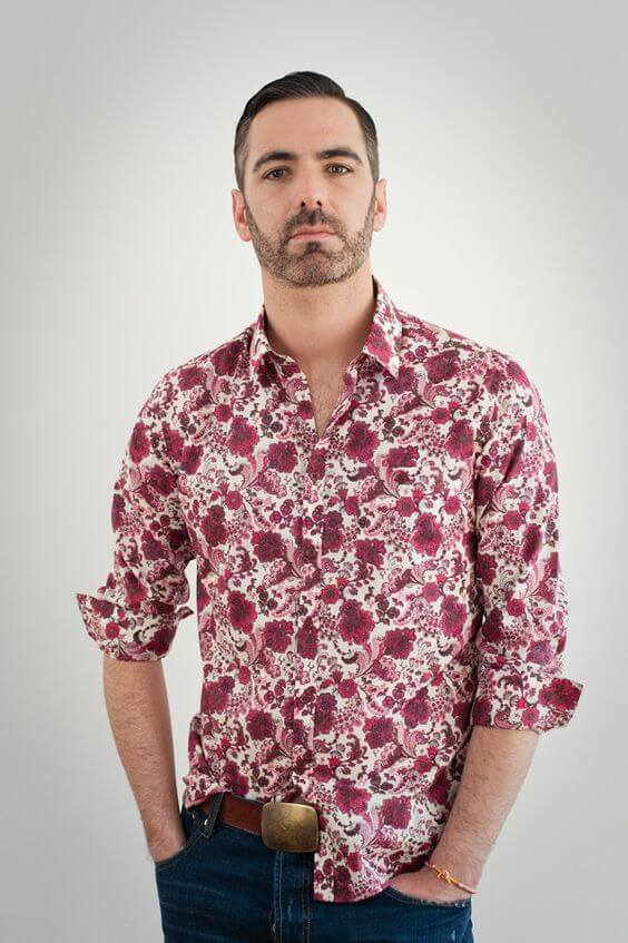 red floral pint shirt men's casual outfit ideas for chinese new year